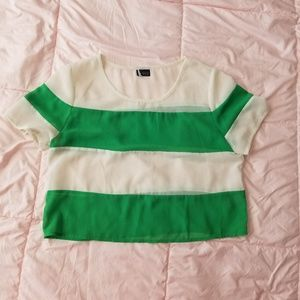 Green and Ivory Crop Top from Urban Outfitters